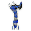 'Dancing Couple' Austrian Crystal Brooch In Gun Metal Finish (Black & Sapphire Blue Colour) - 105mm Length