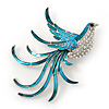 Teal/ Light Blue Enamel Crystal Exotic Bird Brooch In Rhodium Plating - 65mm Across
