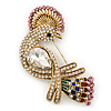 Gold Plated Clear, Pink Austrian Crystal Paradise Bird Brooch - 75mm Length