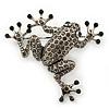 Dim Grey Austrian Crystal Leaping Frog Brooch In Burn Silver Tone - 50mm Length