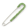 Classic Large Light Green Austrian Crystal Safety Pin Brooch In Rhodium Plating - 75mm Length