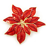 Christmas Bright Red Enamel Poinsettia Holiday Brooch In Gold Plating - 55mm