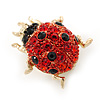 Tiny Red, Black Austrian Crystal Ladybug Brooch In Gold Plating - 20mm Length