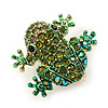 Tiny Olive, Green Austrian Crystal Frog Brooch In Gold Plating - 20mm Width