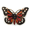 Small Black, Orange, Red, Milky White Austrian Crystal 'Tiger' Butterfly Brooch In Gold Plating - 37mm Width