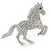Clear/ AB Pave Set Austrian Crystal 'Horse' Brooch - 65mm Across