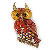 Brick Red, Burgundy, AB Swarovski Crystal Owl Brooch/ Pendant In Gold Plating - 40mm Length