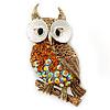 Topaz, AB Swarovski Crystal Owl Brooch/ Pendant In Gold Plating - 40mm Length