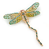 Olive, Teal, Pale Green Austrian Crystal Dragonfly Brooch With Moving Tail In Gold Plating - 80mm