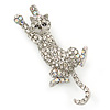 Clear Austrian Crystal Cat Brooch/ Pendant In Rhodium Plating - 50mm L