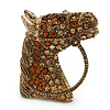 Vintage Inspired Topaz, Amber Austrian Crystal Horse Head Brooch/ Pendant In Antique Gold Tone - 30mm L
