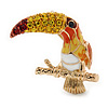 Small Austrian Crystal, Enamel Exotic Parrot Bird Brooch In Gold Plating - 23mm L