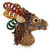 Multicoloured Austrian Crystal Circus Horse Head Brooch/ Pendant In Gold Tone - 70mm Across