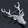 Large Clear Austrian Crystal Stag Head Brooch In Rhodium Plating - 70mm Length