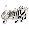 Black, White Enamel, Austrian Crystal Musical Notes Brooch In Silver Tone - 65mm L