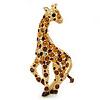 Topaz, Brown, Amber Austrian Crystal Giraffe Brooch/ Pendant In Gold Plated Metal - 43mm Length