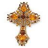 Statement Topaz Coloured Austrian Crystal Cross Brooch/ Pendant In Gold Tone Metal - 85mm Length