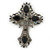 Statement Black, Hematite Austrian Crystal Cross Brooch/ Pendant In Gunmetal - 85mm Length