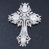 Statement Clear Austrian Crystal Cross Brooch/ Pendant In Silver Tone Metal - 85mm Length