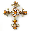 Statement Topaz, Citrine Crystal Filigree Cross Brooch/ Pendant In Gold Tone Metal - 58mm Length