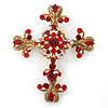 Statement Ruby Red Crystal Filigree Cross Brooch/ Pendant In Gold Tone Metal - 58mm Length
