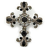 Statement Black/ Hematite Austrian Crystal Filigree Cross Brooch/ Pendant In Gunmetal - 70mm Length