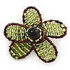 Handmade Light Green Glass Bead 'Daisy' Brooch In Copper Tone - 55mm Diameter
