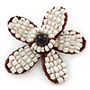 Handmade White Glass Bead 'Daisy' Brooch In Copper Tone - 55mm Diameter