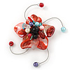Handmade Brick Red Shell, Beaded Wire Flower Brooch In Silver Tone - 45mm Diameter