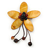Handmade Mustard Shell Flower With Faux Amber Bead Dangle Brooch - 95mm Length