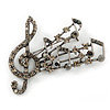 Antique Silver Grey, Hematite Crystal 'Musical Notes' Brooch - 50mm Length