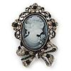 Vintage Inspired Crystal Cameo With Bow Brooch/ Pendant In Antique Silver Metal - 45mm Length