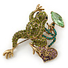Olive, Green, Purple Austrian Crystal Frog Brooch In Gold Tone - 55mm L