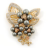 Grey Faux Pearl, Clear, Citrine Austrian Crystal Floral Brooch In Gold Tone - 75mm L