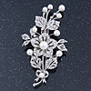 Bridal Crystal, Glass Pearl Floral Brooch In Silver Tone - 85mm L