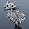 Pave Set Clear Austrian Crystal 'Kitty' Brooch In Silver Tone - 40mm L