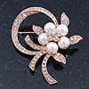 Bridal Crystal, Similutated Pearl Flower Brooch In Rose Tone Gold - 50mm Across