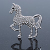 Small Silver Tone Austrian Crystal Horse Brooch - 38mm Width