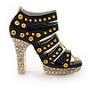 Black Enamel, Crystal High Heel Shoe Brooch In Gold Tone - 35mm L