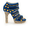 Royal Blue Enamel, Crystal High Heel Shoe Brooch In Gold Tone - 35mm L