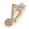 Gold Tone Clear Crystal Musical Note Brooch - 40mm L
