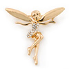 Gold Tone Clear Crystal 'Fairy' Brooch - 45mm L