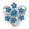 3 Petal Light Blue Crystal Flower Brooch In Rhodium Plating - 40mm Across