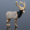 Crystal, Black Enamel Stag Brooch In Gold Tone - 55mm L