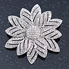 Bridal Clear Austrian Crystal Flower Brooch In Rhodium Plating - 50mm Diameter