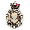 Vintage Inspired Clear Austrian Crystal Cameo Brooch In Antique Gold Metal - 65mm L