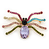 Multicoloured Austrian Crystal Spider Brooch In Gold Tone - 63mm W