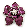 Deep Purple Enamel Layered Flower Brooch In Silver Tone - 60mm L