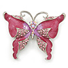 Pink Enamel Crystal Butterfly Brooch In Rhodium Plating - 50mm W