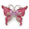 Pink Enamel Crystal Butterfly Brooch In Rhodium Plating - 50mm W